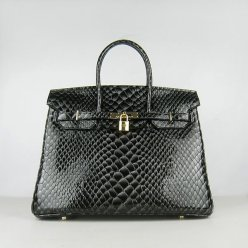 Hermes Handbags Birkin 35CM H6089 Black Fish Stripe Leather Gold Hardware Bag