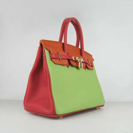 Hermes Handbags Birkin 30 CM Red Orange Green Lichee Pattern Bag - Click Image to Close