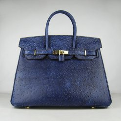 Hermes Handbags Birkin 35 CM Dark Blue Ostrich Stripe Bag