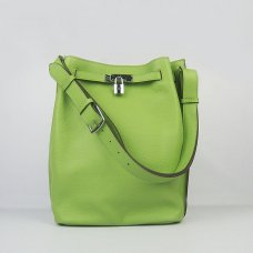 Hermes Handbags Picotin Herpicot Green Cowskin Leather Silver Hardware Bag