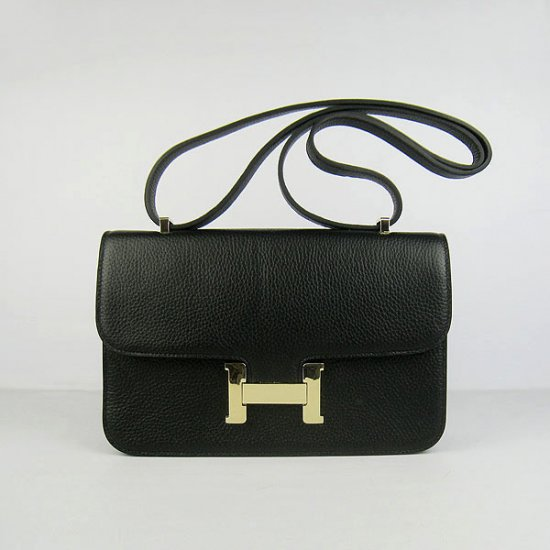 Hermes Handbags Constance Black Cowhide Leather Gold Hardware Bag - Click Image to Close
