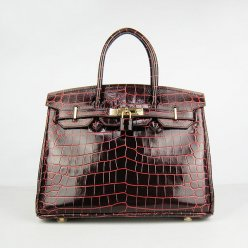 Hermes Handbags Birkin 30 CM Dark Brown New Crocodile Veins Bag