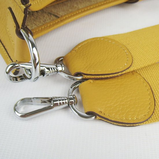 Hermes Handbags Evelyne III Yellow Cowskin Leather Silver Hardware Bag - Click Image to Close