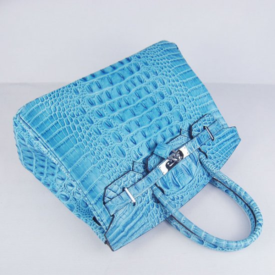 Hermes Handbags Birkin 30 CM Light Blue Crocodile Scalp Bag - Click Image to Close