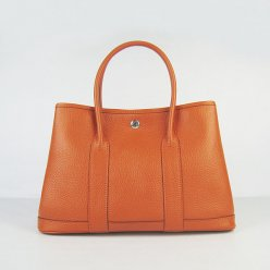 Hermes Handbags Garden Party Orange Cowskin Leather Silver Hardware Bag