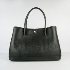 Hermes Handbags Garden Party H2808 Black Cowskin Leather Silver Hardware Bag