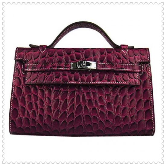 Hermes Handbags Kelly 22CM Crimson Fish Stripe Leather Silver Hardware Bag - Click Image to Close