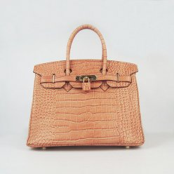 Hermes Handbags Birkin 30 CM Orange Crocodile Bag