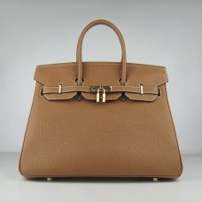 Hermes Handbags Birkin 35 CM Brown Cow Neck Leather Bag