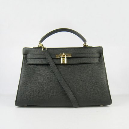 Hermes Handbags Kelly 35 CM Black Cowskin Leather Gold Hardware Bag