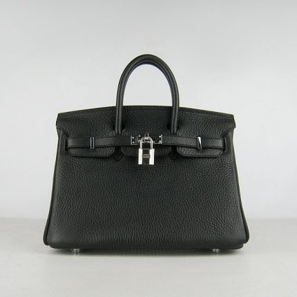 Hermes Handbags Birkin 25cm Lichee Pattern handbags Black