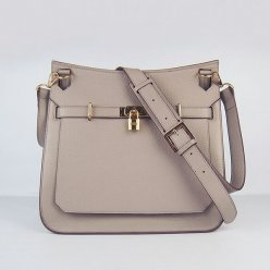 Hermes Handbags Jypsiere Grey Cowskin Leather Gold Hardware Bag
