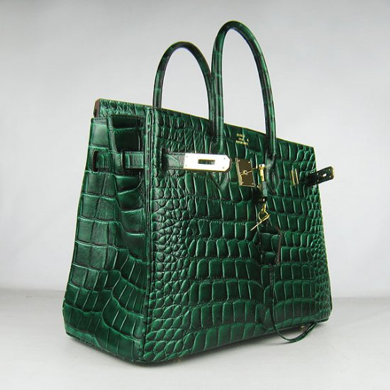 Hermes Handbags Birkin 35 CM Dark Green Crocodile Stripe Bag - Click Image to Close