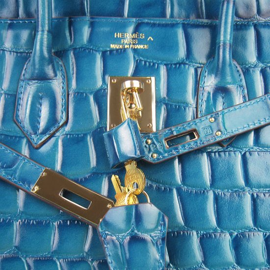 Hermes Handbags Birkin 35 CM Medium Blue Crocodile Stripe Bag - Click Image to Close