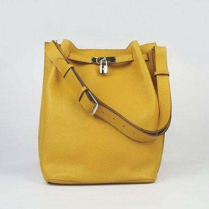 Hermes Handbags Picotin Herpicot Yellow Cowskin Leather Silver Hardware Bag