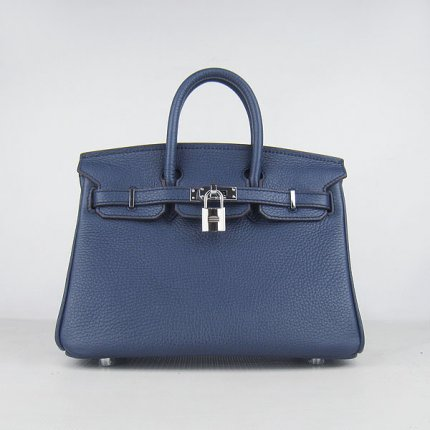 Hermes Handbags Birkin 25 CM Dark Blue Lichee Pattern Bag