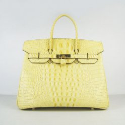 Hermes Handbags Birkin 35 CM Yellow Crocodile Scalp Bag