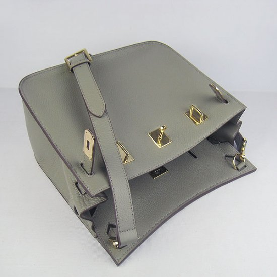 Hermes Handbags Jypsiere Dark Grey Cowskin Leather Gold Hardware Bag - Click Image to Close
