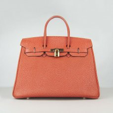 Hermes Handbags Birkin 35CM H6089 Dark Orange Pearl Stripe Leather Gold Hardware Bag
