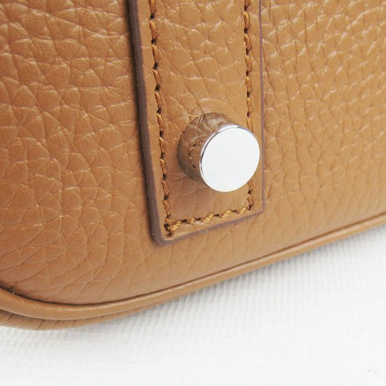 Hermes Handbags Picotin Herpicot Brown Cowskin Leather Silver Hardware Bag - Click Image to Close