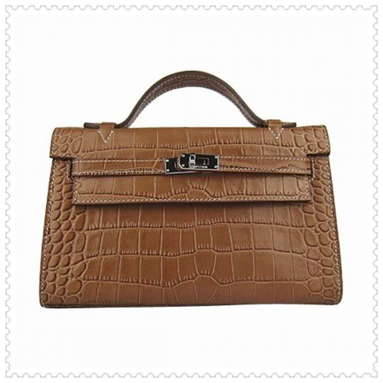 Hermes Handbags Kelly 22CM Light Brown Crocodile Stripe Leather Silver Hardware Bag - Click Image to Close