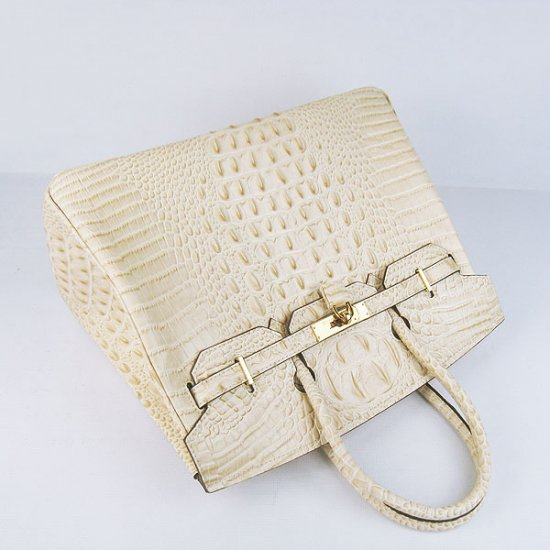 Hermes Handbags Birkin 35 CM Off White Crocodile Scalp Bag - Click Image to Close
