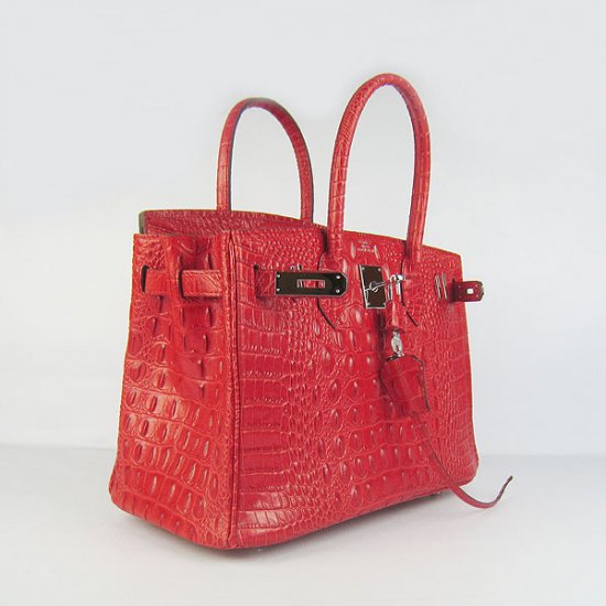 Hermes Handbags Birkin 30 CM Red Crocodile Scalp Bag - Click Image to Close