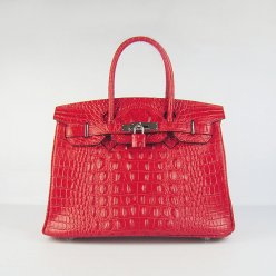 Hermes Handbags Birkin 30 CM Red Crocodile Scalp Bag