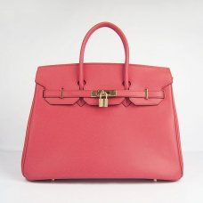 Hermes Handbags Birkin 35 CM Red Plain Veins Bag