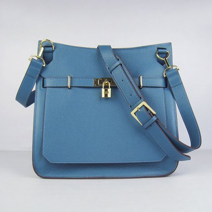 Hermes Handbags Jypsiere Blue Cowskin Leather Gold Hardware Bag