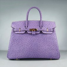Hermes Handbags Birkin 35 CM Light Purple Ostrich Stripe Bag