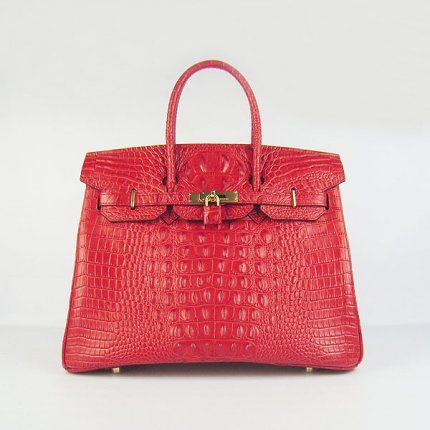 Hermes Handbags Birkin 35 CM Red Crocodile Scalp Bag