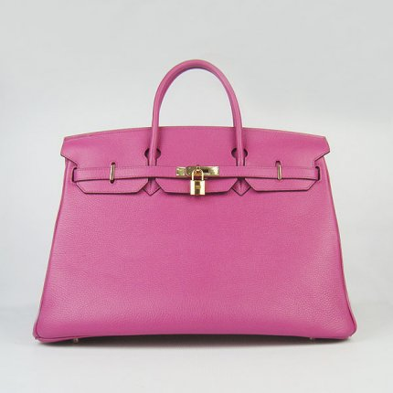 Hermes Handbags Birkin 40CM H6099 Peach Cowhide Leather Gold Hardware Bag