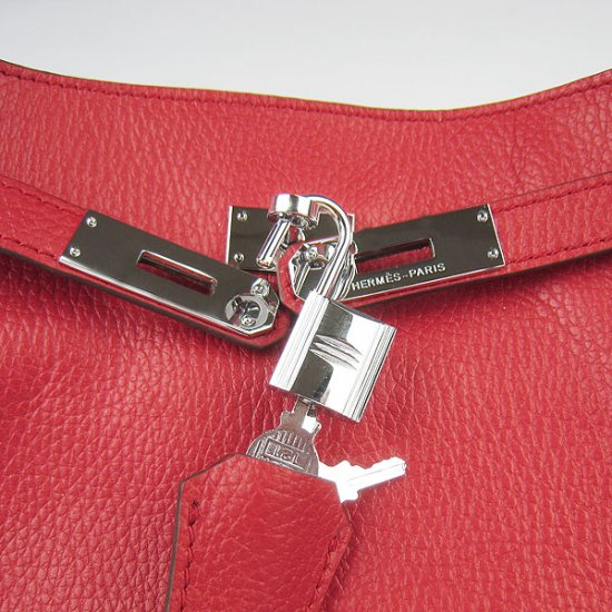 Hermes Handbags Picotin Herpicot Red Cowskin Leather Silver Hardware Bag - Click Image to Close