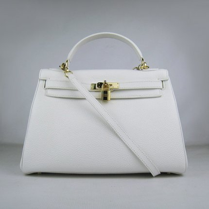 Hermes Handbags Kelly 32 CM White Lichee Pattern Leather Gold Hardware Bag