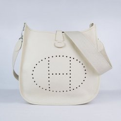 Hermes Handbags Evelyne III Beige Cowskin Leather Silver Hardware Bag