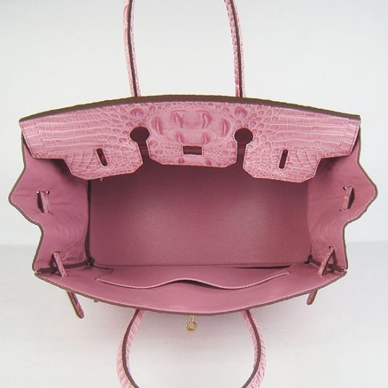 Hermes Handbags Birkin 35 CM Pink Crocodile Scalp Bag - Click Image to Close