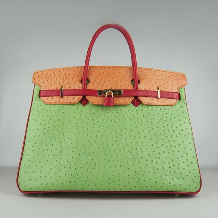 Hermes Handbags Birkin 40CM H6099 Red-Orange-Green Ostrich Stripe Leather Gold Hardware Bag
