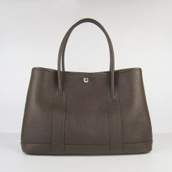 Hermes Handbags Garden Party H2808 Dark Brown Cowskin Leather Silver Hardware Bag