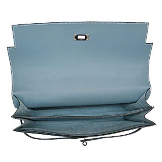 Hermes Kelly Depeches Briefcase Light Blue Calfskin Leather Silver Hardware - Click Image to Close