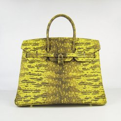 Hermes Handbags Birkin 35CM Yellow-Green Cabrite Stripe Leather Gold Hardware Bag