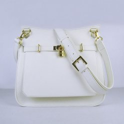 Hermes Handbags Jypsiere White Cowskin Leather Gold Hardware Bag
