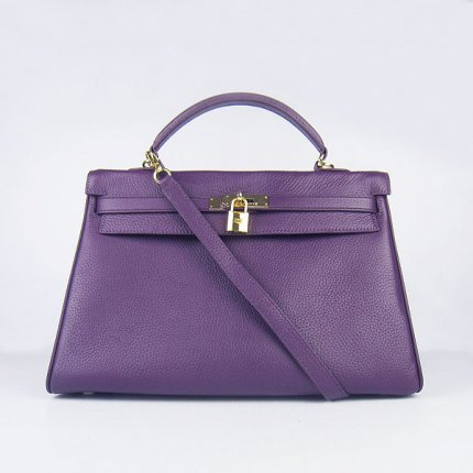Hermes Handbags Kelly 35 CM Purple Cowskin Leather Gold Hardware Bag