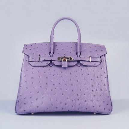 Hermes Handbags Birkin 35 CM Purple Ostrich Stripe Bag