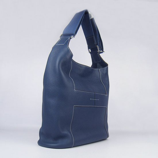 Hermes Handbags Picotin H2801 Dark Blue Cowskin Leather Silver Hardware Bag - Click Image to Close