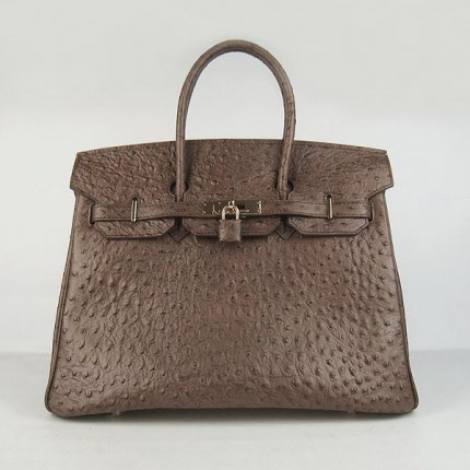 Hermes Handbags Birkin 35 CM Dark Brown Ostrich Stripe Bag