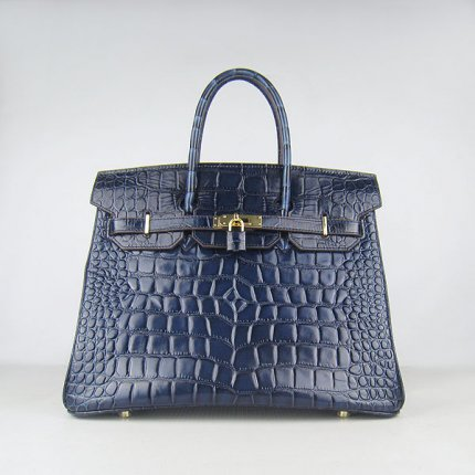 Hermes Handbags Birkin 35 CM Dark Blue Crocodile Stripe Bag