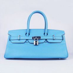 Hermes Handbags Birkin 42 CM Light Blue Cowhide Leather Silver Hardware Bag