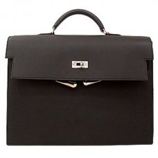 Hermes Kelly Depeches 34cm Briefcase Black Calfskin Leather Silver Hardware