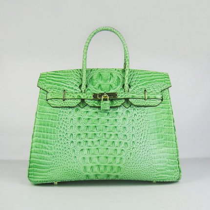 Hermes Handbags Birkin 35 CM Green Crocodile Scalp Bag